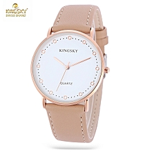 KINGSKY 8062 Women Quartz Watch Concise Style Leather Band Daily Water Resistance Wristwatch