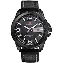 9055 Men Watch Luxury Brand Leather Strap Analog Quartz Clock Casual Sports Watches Military Wristwatch - Black