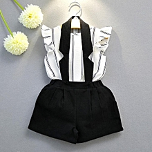 Toddler Kids Baby Girls Outfit Clothes Stripe Vest T-shirt Tops+Short Pants 1Set
