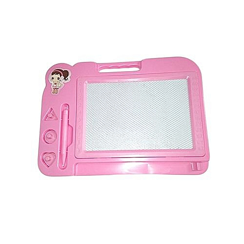 Kids Erasable Drawing Board/ Writing Board With Magnetic Whiteboard - Pink