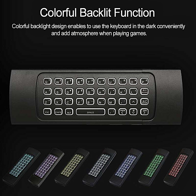 2 4G Air Mouse Wireless Keyboard Colorful Backlight 6-Axis Motion Sensing  Remote Control IR Learning for Mini PC Smart TV Android TV Box Projector