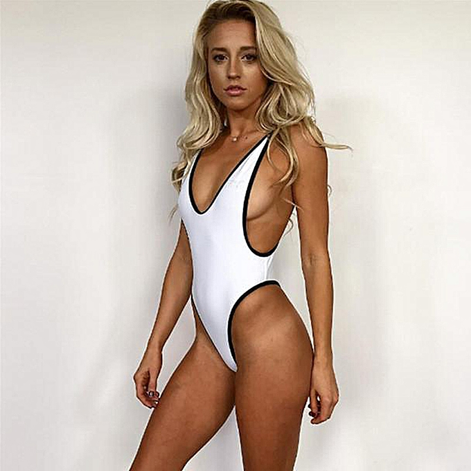 1a3ac80be11 New Sexy Women One-piece Swimsuit Plunge V Neck High Cut Thong Solid  Monokini Swimwear