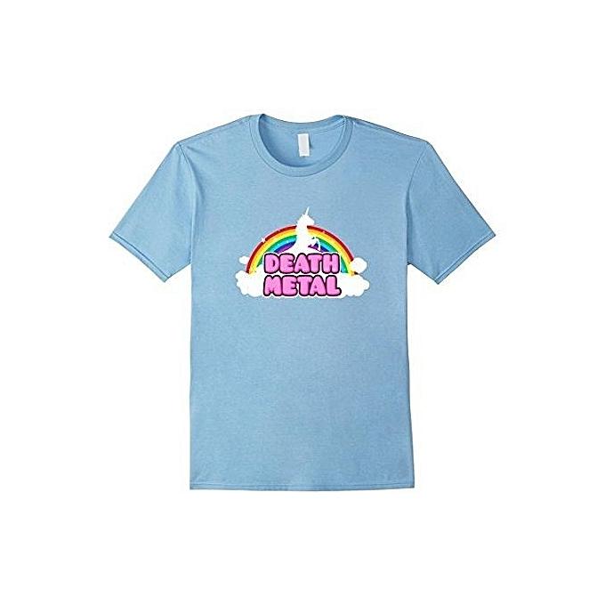 0ef3977a Death Metal Rainbow Unicorn T Shirt Men's Fashion O-Neck Short Sleeved T- shirts
