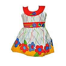 Sleeveless Red collar cotton dress with floral pattern