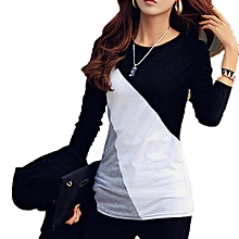 Women Casual O-Neck Long Sleeve Patchwork Contrast Color Slim T-Shirt Tops-Black