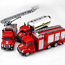 1 Set 3 Pieces Toys Children Toy Cars Fire Truck Construction Vehicle Cars Model Alloy Model Simulation # 7 Red