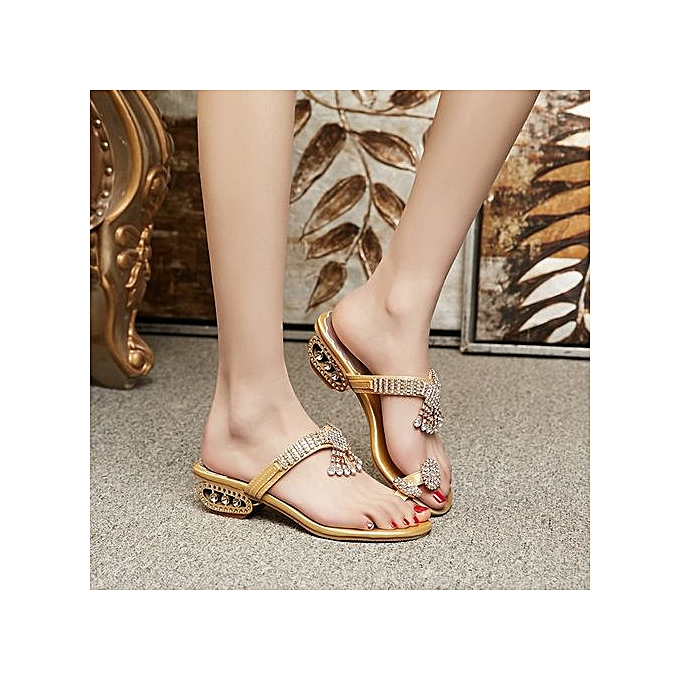7a6bb274f30 Jiahsyc Store Women Sandals Flip Flop Fashion Rhinestone Wedges Shoes  Crystal High Heels Shoes-Glod