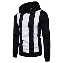 huskspo Men Long Sleeve Hoodie Stitching Color Coat Jacket Outwear Sport Tops BK L