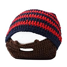 Stylish Cap Knitted Woolen Cap Creative Men Beard Design Warm Beanie Hat For Winter Autumn Color:Red-green Stripes