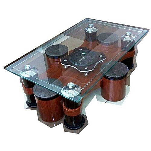 Glass Top Pouftable With Clock