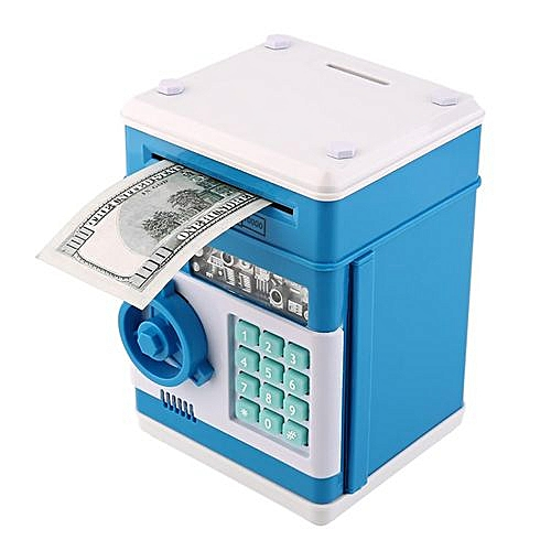 NEW Safety Mini Money Cash Saving Coin Box Security Safes Piggy Bank  Password Lock Blue+White