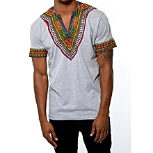 African dashiki  print  T-shirt - Light grey