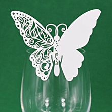 New 50 Pcs Butterfly  Wine Glass Paper Card For Wedding Party -White