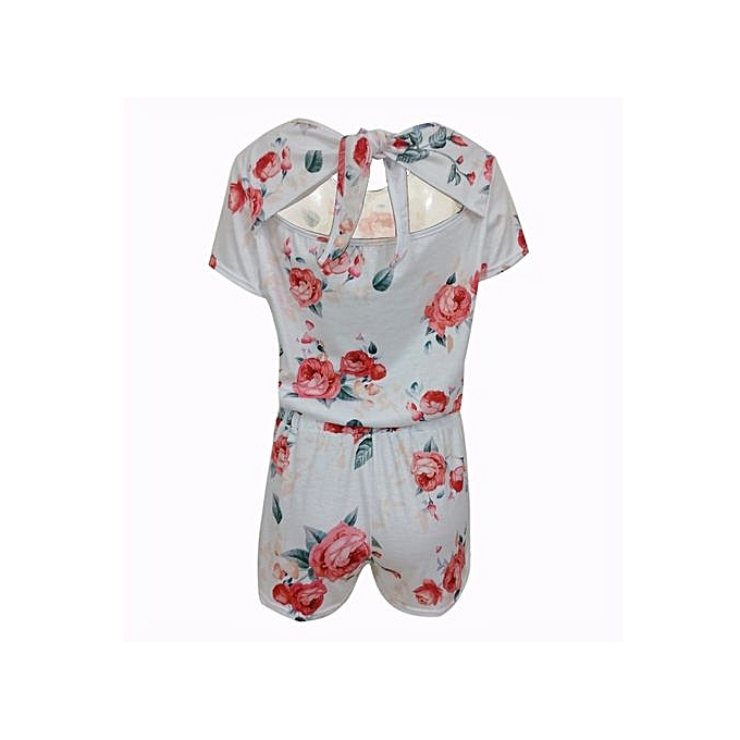 bluerdream-Womens Holiday Casual Floral Printed Playsuit Ladies Jumpsuit  Beach Rompers - White L 4e6788c75