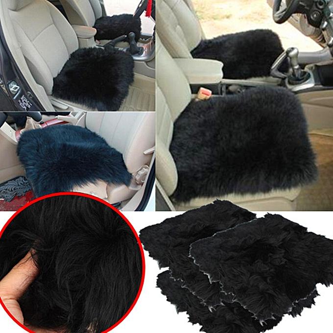 Genuine Sheepskin Long Wool Car Seat Covers Chair Cushion 18x18 Inch BLACK