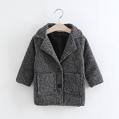 36f930d1 Fashion Children Girl Coat on Closure Outerwear Jacket Warm Wool Coat dark  gray 90cm