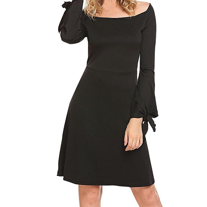 d5dfc8b4bea7 Hiaojbk Store Fashion Women Ladies Off Shoulder Knee Length Dress Loose  Party Dress-Black