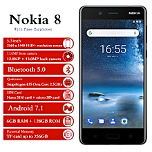 "Nokia 8 - 5.3"" (6GB, 128GB ROM), Android 7.1, 12.0MP + 13.0MP, Gorilla Glass 4G - Blue"