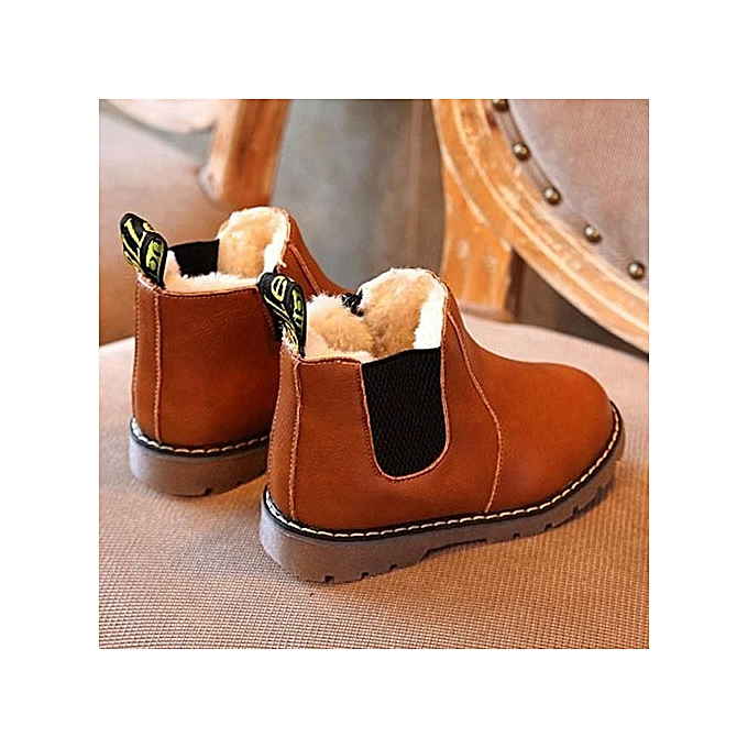 2582767ea5ae68 ... bluerdream-Kids Boys Girls Winter Snow Warm Ankle Boots Zipper Child  Chelsea Shoes -As ...