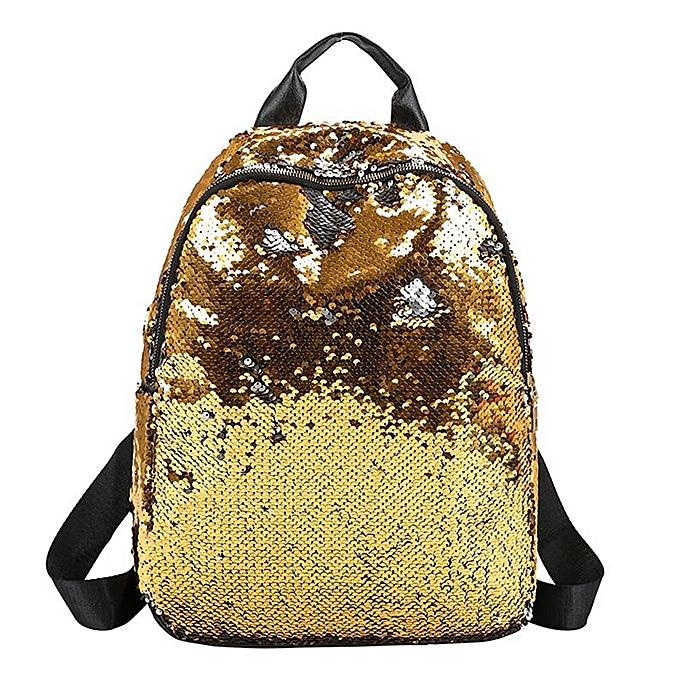 ffc90df004c6 Glitter Backpack Women Sequins Knapsack Teenage Girls Rucksack Fashion  Female Gold Black School Sequin Bag Casual travel(Gold)