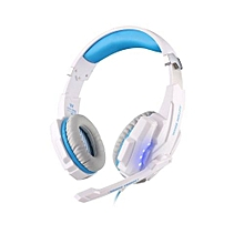 Headphone Gaming, G9000 Gaming Headphone With Mic LED Light For Laptop Tablet(White Blue)