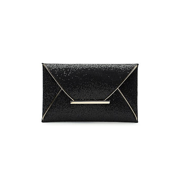 938185e9475e bluerdream-Womens Sequins Envelope Bag Evening Party Purse Clutch Handbag  Black-Black