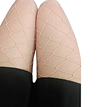 Fohting Women Sexy Hosiery  Fishnet Elastic Thigh High Stockings Pantyhose Tights  -Beige