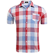 Men Short Sleeve Plaid Casual Shirts ( Red )