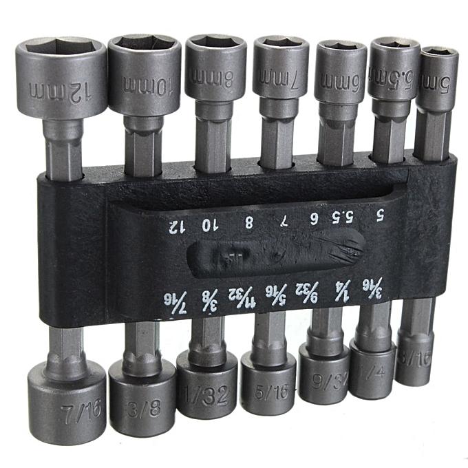 ... 14x Power Nut Driver Drill Bit Set SAE Metric Socket Wrench Screw 1/4' ...