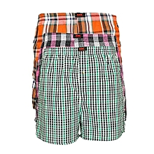 High Quality Checked Multicolours Men's Boxers - With Comfort Flex Elastic Waistbands - Pack Of 3