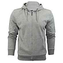 Light grey zipped plain hoodie
