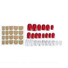 Elegant Bright Red Fingernails Wrapping Small Short Manicure Patch Nail Sticker