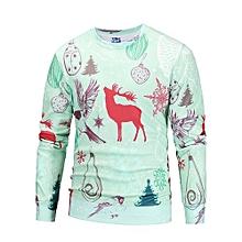 bluerdream-Men's Autumn Winter Printed Deer Long Sleeve Sweatshirt Tops Blouse L- Green