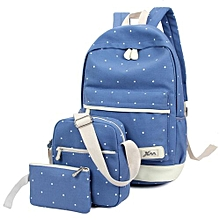 3pcs Set Canvas Backpack With Polka Dots For Girl / Woman -blue