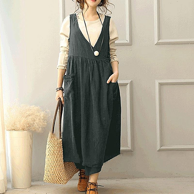 ec2606def4c ZANZEA Women Sleeveless Sundress Kaftan Flare Plus Size Long Maxi Dress ...