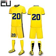 Customized Youth Children Boy's Football Soccer Team Sports Jersey Set-Yellow(6200)
