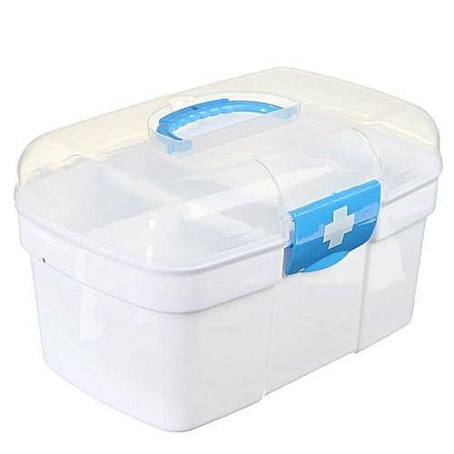 Plastic Clear Health Pill Medicine Chest First Aid Kit Case Storage Box Blue