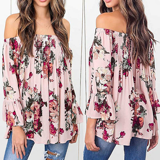 7600e0714df54 Check Sexy Fashion Women Floral Print Tops Off Shoulder Flare Sleeve Shirt  Blouse Pink