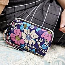 Waterproof Nylon Patchwork Three Zipper 5.5 inches Phone Bag Flower Bag Clutch Bag Ladies' Purse