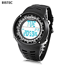 006 Male Digital Watch LED Display Alarm Stopwatch Men Sport Wristwatch-Black-Black