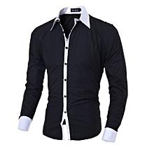 High Quality Fashion Men Slim Shirts Man Casual Long Sleeve Cotton Shirt Male Spring Autumn Tops Undershirt Clothing-black