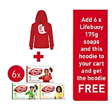 Add 6 x Lifebuoy 175g soaps and this hoodie to your cart and get the hoodie FREE