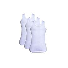 100% Cotton men's white Sleeveless vest pack of 3 - Soft and Comfort feel -  Fine Knitting Vests - White Vests + Free Gift Pen