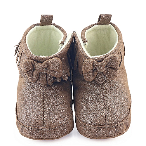ed45cb1c6eb Neworldline Toddler Newborn Baby Boy Girl Crib Bowknot Boots Prewalker Warm  Martin Shoes-Coffee