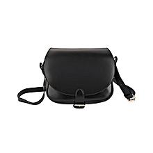 Women Ellipse Shape Strap Bucket Bag - Black