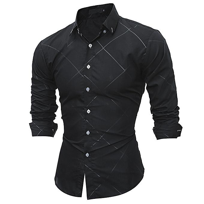 Fashion 2018 New Long sleeve men shirts Cotton Plaid shirts male casual  Fashion mens shirts slim fit striped shirt men-black 1d26846a035