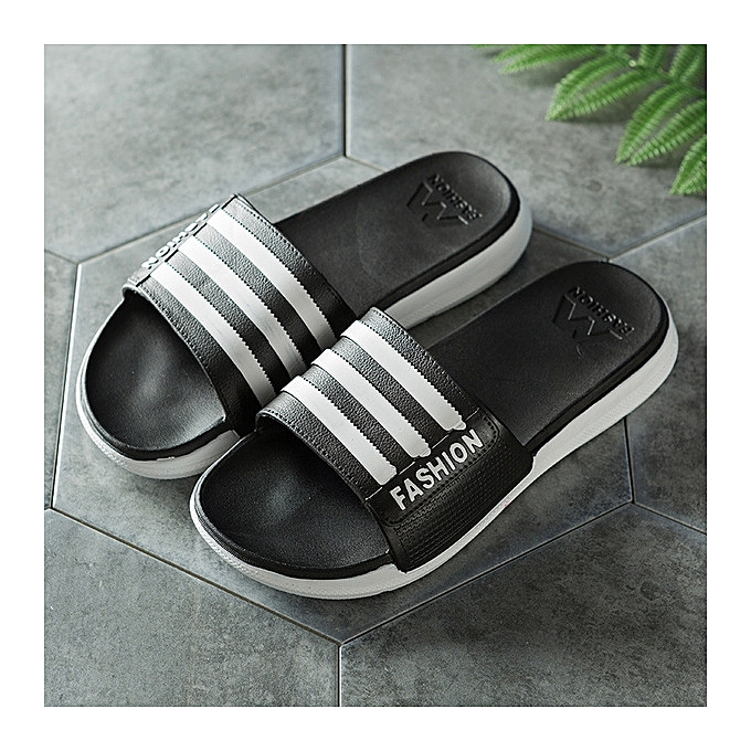 dd9f06588062 Refined Men Slipper Casual Shoes Non-slip Slides Thick bottom Bathroom  Summer Sandals Soft Sole Flip Flops Man-black