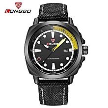 Watches, 80194 Fashion Canvas Strap Men's Sport Casual Watches Calendar Date Time Waterproof Quartz Wrist Watch - Black