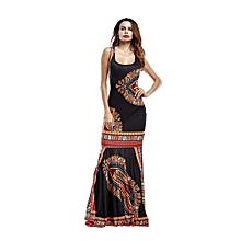 Popular 2017 Summer African Print Pencil Bodycon Long Maxi Dresses Women Mermaid Sleeveless O Neck Casual Beach Elegant(black)