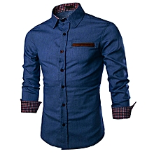 COOFANDY Men Long Sleeve Turn Down Neck Pure Color Loose Tops Casual Dress Cotton Button Down Shirts